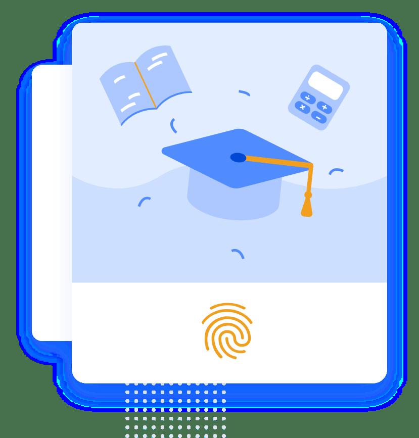 """تصویر گرافیکی از کلاه فارغ التحصیلی و ماشین حساب و کتاب به همراه اثر انگشت برای بخش """"دانشگاه ها و موسسات آموزشی"""""""